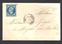 FRANCE N° 14  Obl. S/Lettre Entiére PC 2402 Périgueux + OR - 1853-1860 Napoléon III