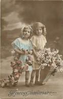 Themes - Enfants - Ref 392 - Fantaisie -  Fillettes Et Panier De Fleurs -  Carte Bon Etat - - Portraits