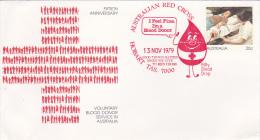 Australia 1979 Blood Donors Pre Stamped Envelope, Red Postmarl  Red Cross - Australia