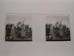 Photo Plaque De Verre Stéréoscopique Guerre 14-18 Canon D´artillerie Poilus - Diapositiva Su Vetro