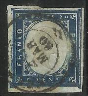ANTICHI STATI: 1860 SARDEGNA 20 CENTESIMI AZZURRO SCURISSIMO ANNULLATO - Sardaigne