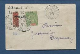 ENV. MADAGASCAR N�91 B -AFFRANCHI AINSI/FAUTE FIGURINE OBLIT. VOHEMAR 27/FEV/1904 TRES RARE SIGNE BEHR COTE : 3500 �