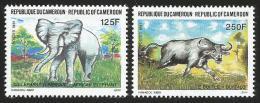 Cameroun Cameroon 1991 Fauna Elephant Buffalo Yv 843/4 Mi 1181/2 Mint Neuf Set - Kameroen (1960-...)