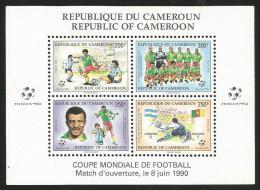 Cameroun Cameroon 1990 World Cup Football Soccer Italy Yv Bf 24 Mi Bl. 25 Mint Neuf Miniature Sheet - Kameroen (1960-...)