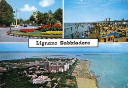 LIGNANO SABBIADORO, Strand, Ort Mit BP-Tankstelle, Mehrbilderkarte 1971 - Legnano
