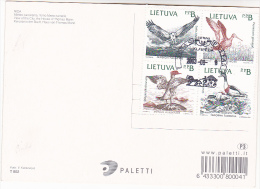 2003 LITHUIANA COVER (card) Stamps OSPREY DUCK GOODWIT SHELDUCK  BIRDS Bird - Eagles & Birds Of Prey