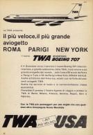 # TWA 1950s Italy Advert Pubblicità Publicitè Reklame Roma Paris New York Airlines Airways Aviation Flight Airplane - Advertisements