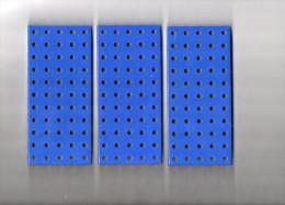 ELEMENTS MECCANO  3 Plaques  � Rebords 14x6cm  METAL Couleur Bleu