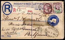 GB/Belgique: Entier Postal Recommandé Réexpédié (1895) Avec TP Perforés !