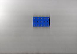 ELEMENT MECCANO   Plaque � Rebords 6x3,5cm METAL Couleur Bleu