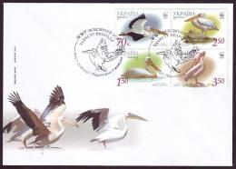 UKRAINE. 2007. WWF. GREAT WHITE PELICAN. FDC. Michel Nr. Klb. 897A-900A - Pélicans