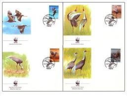 (WWF-063) FDC W.W.F. South Korea White-Naped Crane Bird 1988 - FDC