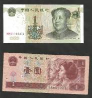 CHINA - 1 YUAN (1996 / 1999) - LOT Of 2 DIFFERENT BANKNOTES - Cina