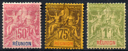 REUNION 1892 - Yv.42-44 (top Values) MH- MLH (traces De Charniere) Perfect (VF) - Réunion (1852-1975)