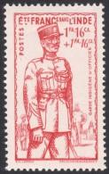 French India, 1 Fa. 16 Ca. + 1 Fa. 16 Ca. 1941, Sc # B12, MH. - India (1892-1954)