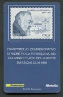 ITALIA TESSERA FILATELICA 1998 - ANNIVERSARIO MORTE PADRE PIO DA PIETRELCINA - 401 - 6. 1946-.. Republik