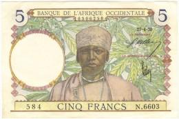 BANQUE DE L´AFRIQUE OCCIDENTALE 5 FRANCS  P.21 - Autres - Afrique