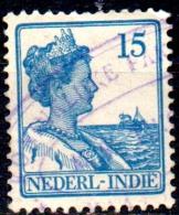 NETHERLANDS INDIES 1912 Queen Wilhelmina  -  15c. - Blue  FU - Nederlands-Indië