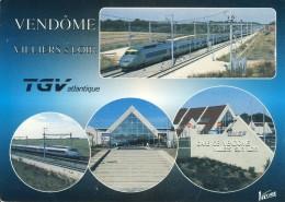Vendôme  Villiers Sur Loir  TGV Atlantique  Cp Format 10-15 - Bahnhöfe Mit Zügen
