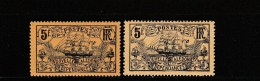 NELLE CALEDONIE - YVERT N°104 + 104a *  - CHARNIERES LEGERES - Unused Stamps