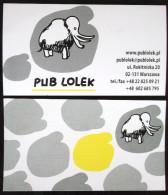 CARTE DE VISITE PUB LOLEK VARSOVIE POLOGNE POLAND MAMMOUTH ELEPHANT - Pubblicitari