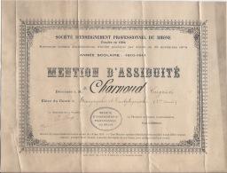 Mention D'assiduité 1911 1912 - Diploma & School Reports