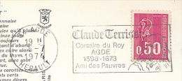 * Flamme CLAUDE TERRISSE, Corsaire Du Roy, Agde (1974) Sur Carte Postale  (2 Scans) - Marcophilie (Lettres)