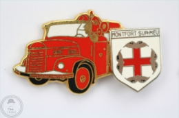 Fireman/ Firefighter Truck With Montfort Sur Meu Coat Of Arms - Sapeurs Pompiers  Camion - Pin Badge #PLS - Bomberos