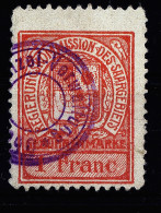 A2838) Saargebiet Fiscal-Marke 1 Franc Gebraucht Used - 1920-35 Saargebiet – Abstimmungsgebiet
