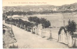 POSTAL     SAN FELIU DE GUIXOLS  -GERONA -  BAÑOS DE SAN TELMO  Y PASEO - Gerona