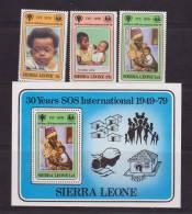 Sierra Leone 1979 IYC Child / SOS Set 3 & Miniature Sheet MNH - Sierra Leone (1961-...)