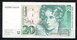 3260 - BUND - 20 DM-Schein Von 1991 - Ser.-Nr. AS....S, Minimal Gebraucht - WEST GERMANY Banknote - [ 7] 1949-… : RFA - Rep. Fed. Tedesca