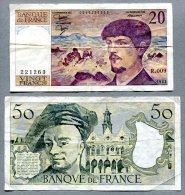 3266 - FRANKREICH - 4 Banknoten - 20, 50, 100, 200 Francs  Gebraucht - FRANCE, 4 Banknotes - 1962-1997 ''Francs''