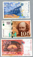 3267 - FRANKREICH - 3 Banknoten - 50,100, 200 Francs Gebraucht - FRANCE, 3 Banknotes - 1992-2000 Dernière Gamme