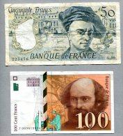 3269 - FRANKREICH - 2 Banknoten, 50 + 100 Francs Gebraucht - FRANCE, 2 Banknotes - Frankreich