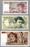 3270 - FRANKREICH - 3 Banknoten, 20, 50, 100 Francs Gebraucht - FRANCE, 3 Banknotes - 1962-1997 ''Francs''