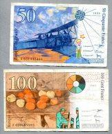 3271 - FRANKREICH - 2 Banknoten, 50 + 100  Francs Gebraucht - FRANCE, 2 Banknotes - 1992-2000 Dernière Gamme