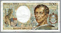 3272 - FRANKREICH - 200 Franc- Banknote, Gebraucht - FRANCE, Banknote - 200 F 1981-1994 ''Montesquieu''