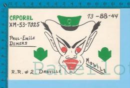 """QSL Base Ou Mobile """" Caporal"""" Danville P.Quebec  ( XM-53...., CB Radio  CPM ) Recto/verso - Cartes QSL"""