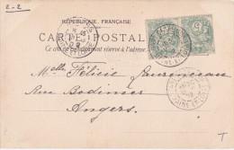 1902 - GARE DE SAUMUR - CACHET TYPE A2 - MAINE ET LOIRE - Spoorwegpost