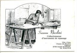 2 Scans - Carte Personnelle - Collection Fers à Repasser - Jolie Illustration D'une Repasseuse - Artisanat