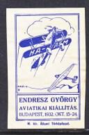 HUNGARY  AEROPHILATELIC  VIGNETTE   *    1932 - Airmail