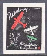 HUNGARY  AEROPHILATELIC  VIGNETTE  IMPERF.   *    1936 - Airmail