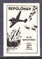 HUNGARY  AEROPHILATELIC  VIGNETTE  .   *   HUNGARIAN  PATRIOTIC 1937 - Airmail
