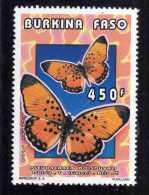 BURKINA FASO 1996 FAUNA FAUNE BUTTERFLIES FARFALLE PAPILLONS 450 F FARFALLA BUTTERFLY PAPILLON MNH - Burkina Faso (1984-...)