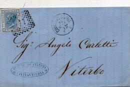 1873  LETTERA CON ANNULLO  CIVITAVECCHIA - Storia Postale