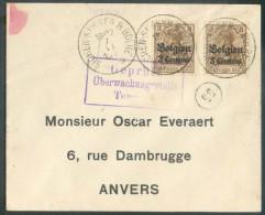 OCC N°1(2) - 3centimes S/3pfg (x2) Obl. Screlais De SICHEM-SUSSEN BOLRE * Sur Enveloppe  Du 7-VI-1917 + Griffe Encadrée - Postmarks With Stars