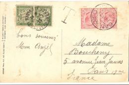 CP ITALIE CANNOBIO Càd 28 8 23  TAXÉE PAIRE 40c Càd 139. AV. JEAN JAURES PARIS Le 30-8-23 + LETTRE T - 1859-1955 Lettres & Documents