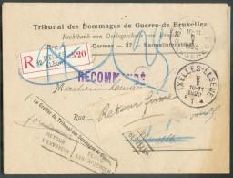 Lettre Recommandée En Franchise Totale De Port Obl. Sc Agence IXELLES 12 * Du 6-1-1920 VersBruxelles (biffé) + Griffe Re - Postmarks With Stars