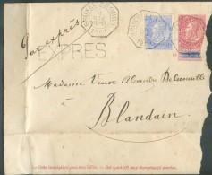 E.P. Enveloppe 10 Centimes Fine Barbe Obl. Télégraphique BRUXELLES (MIDI) En Exprès Le 8 Novembre 1902 Vers Blandain - - Entiers Postaux